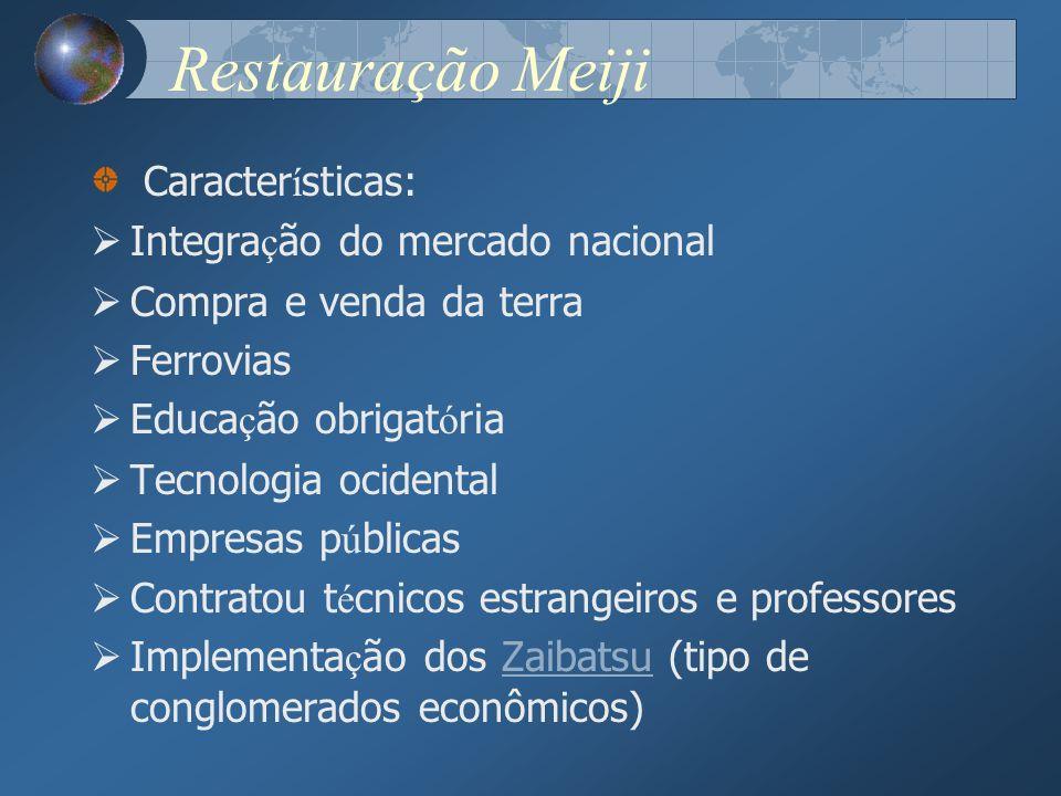 Restauração Meiji Características: Integração do mercado nacional