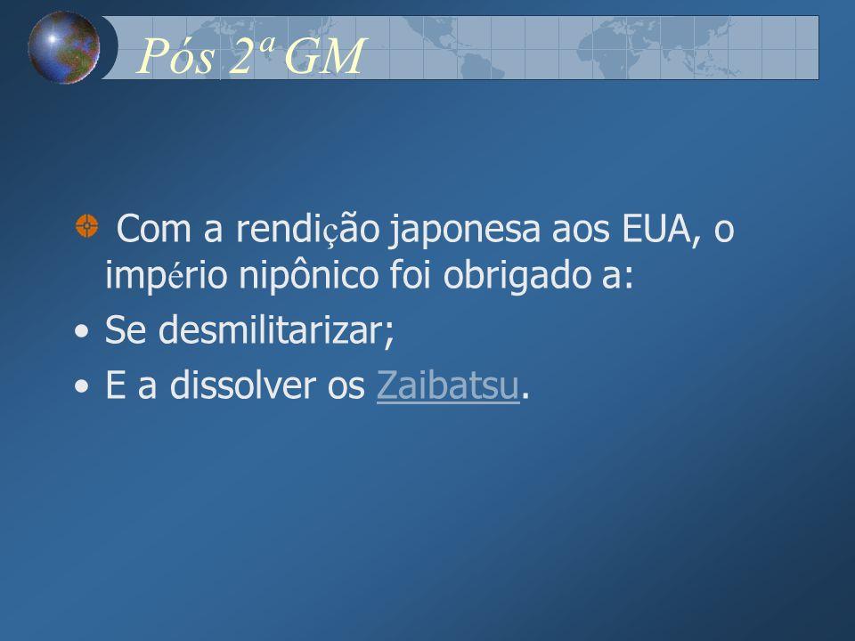 Pós 2ª GM Com a rendição japonesa aos EUA, o império nipônico foi obrigado a: Se desmilitarizar; E a dissolver os Zaibatsu.