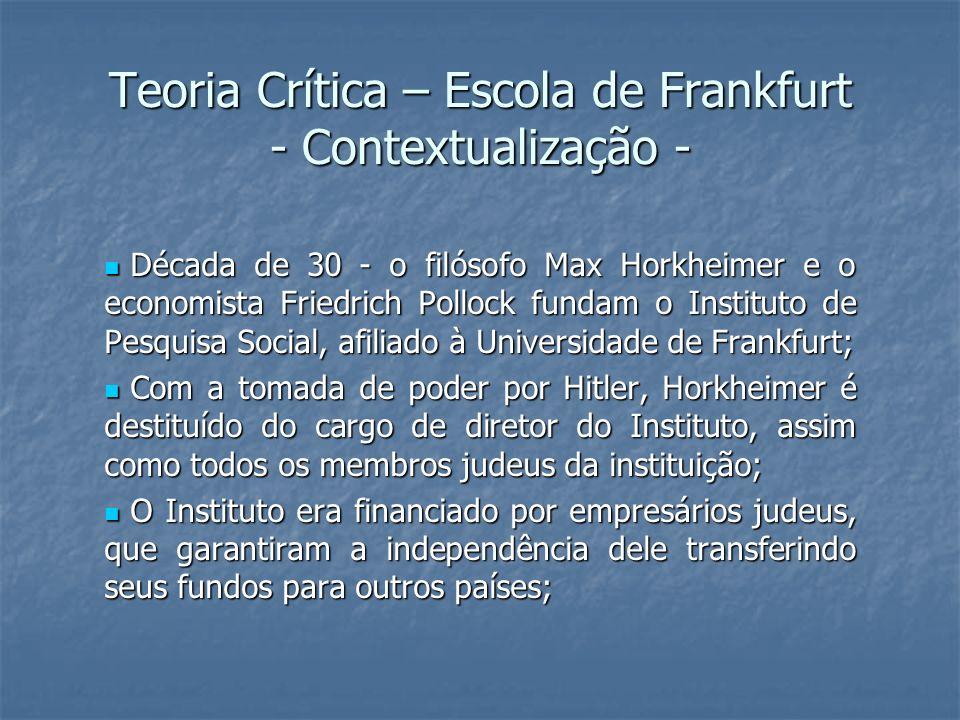 Teoria Crítica – Escola de Frankfurt - Contextualização -