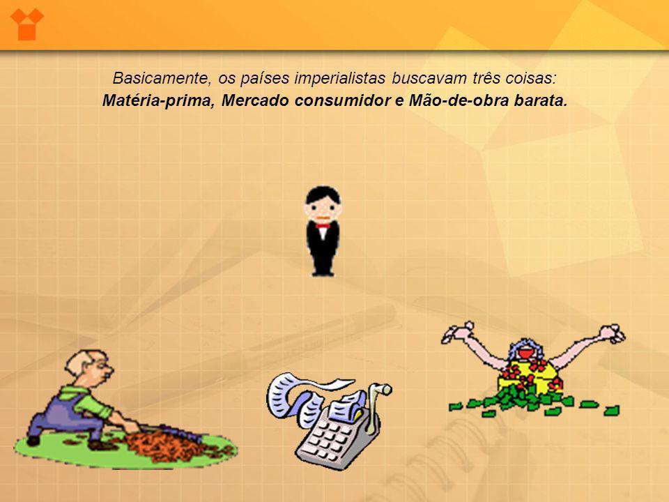 Matéria-prima, Mercado consumidor e Mão-de-obra barata.