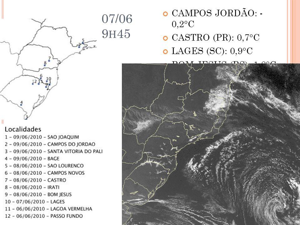 07/06 9h45 CAMPOS JORDÃO: - 0,2°C CASTRO (PR): 0,7°C LAGES (SC): 0,9°C