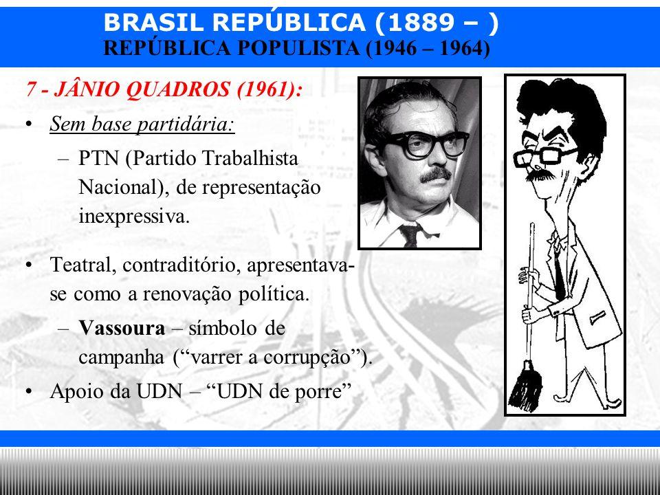 7 - JÂNIO QUADROS (1961):Sem base partidária: PTN (Partido Trabalhista Nacional), de representação inexpressiva.