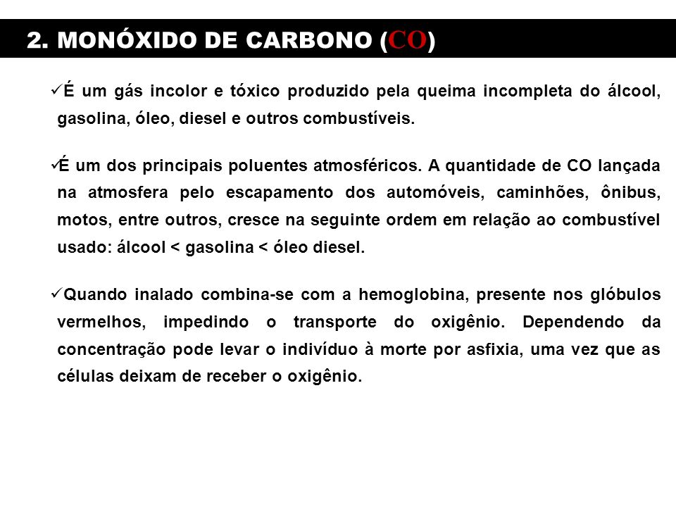 2. MONÓXIDO DE CARBONO (CO)