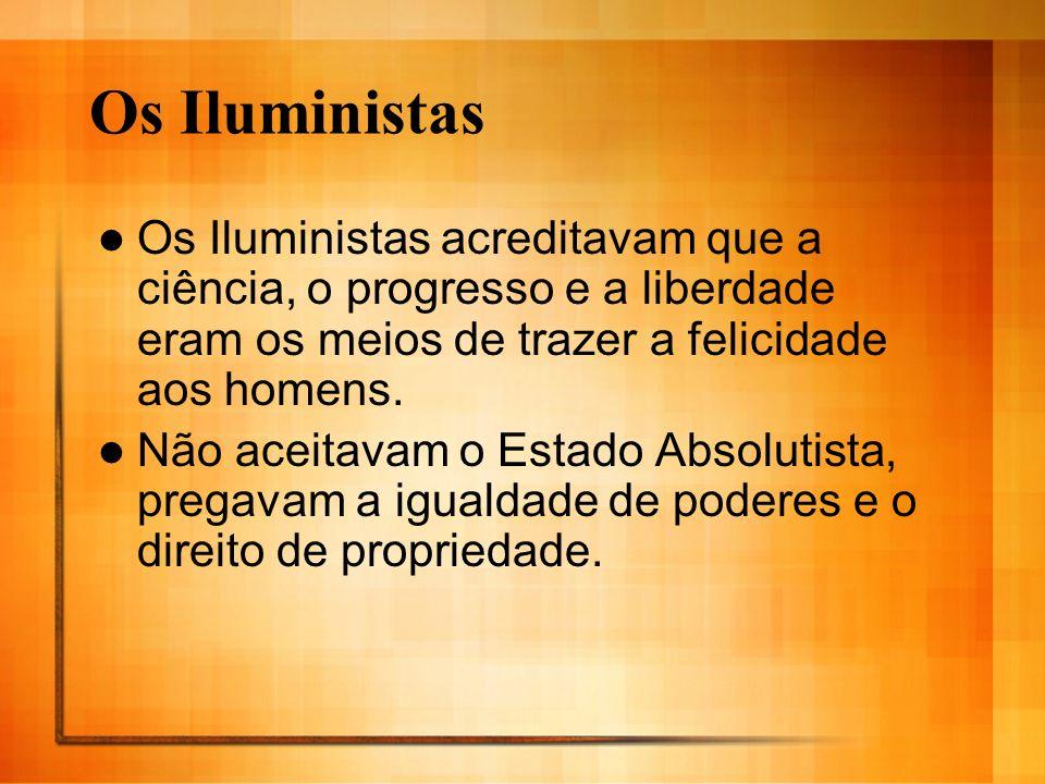 Os IluministasOs Iluministas acreditavam que a ciência, o progresso e a liberdade eram os meios de trazer a felicidade aos homens.