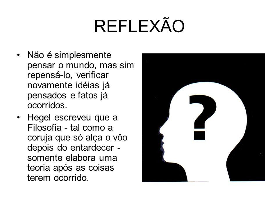 REFLEXÃO Não é simplesmente pensar o mundo, mas sim repensá-lo, verificar novamente idéias já pensados e fatos já ocorridos.