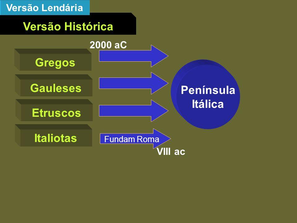 Versão Histórica Gregos Península Itálica Gauleses Etruscos Italiotas