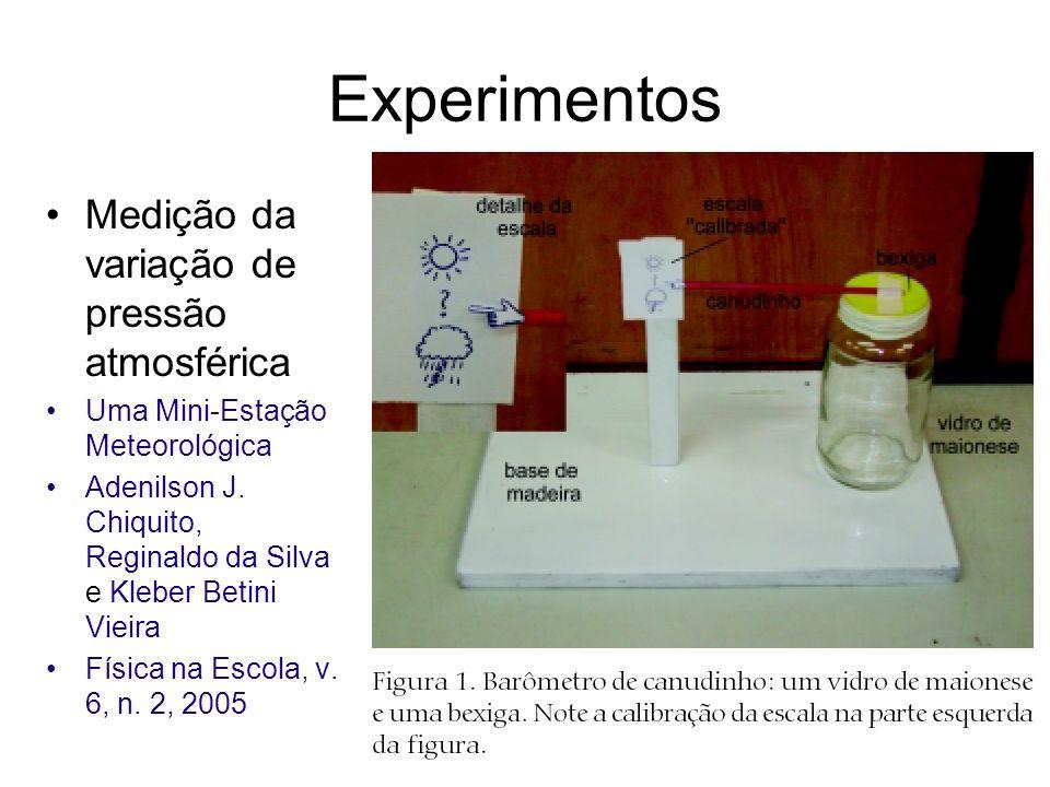 Experimentos Medição da variação de pressão atmosférica