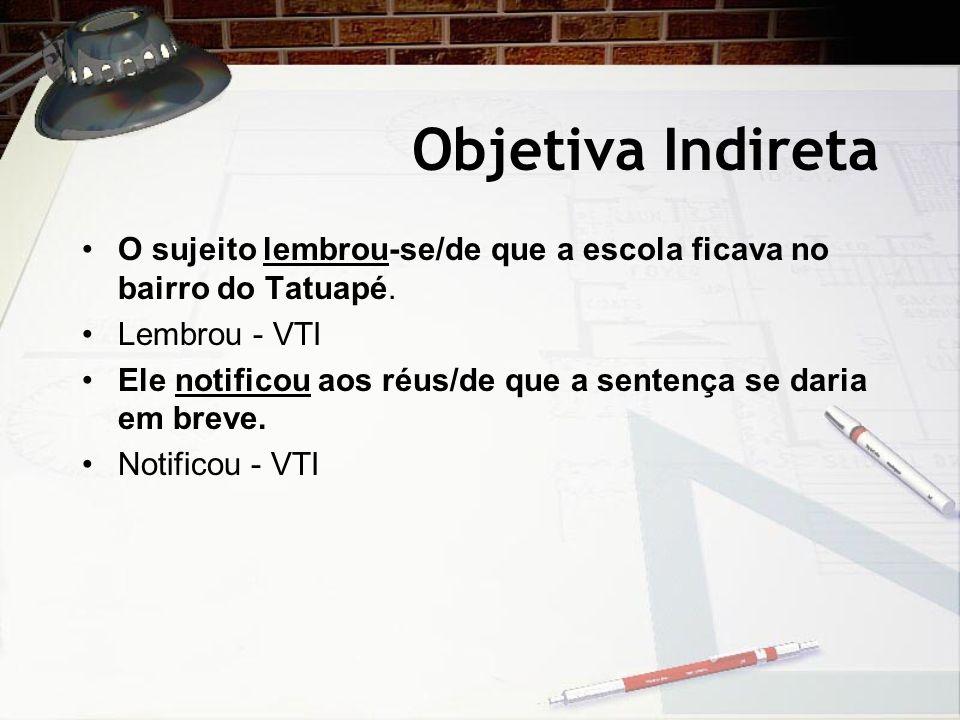 Objetiva Indireta O sujeito lembrou-se/de que a escola ficava no bairro do Tatuapé. Lembrou - VTI.