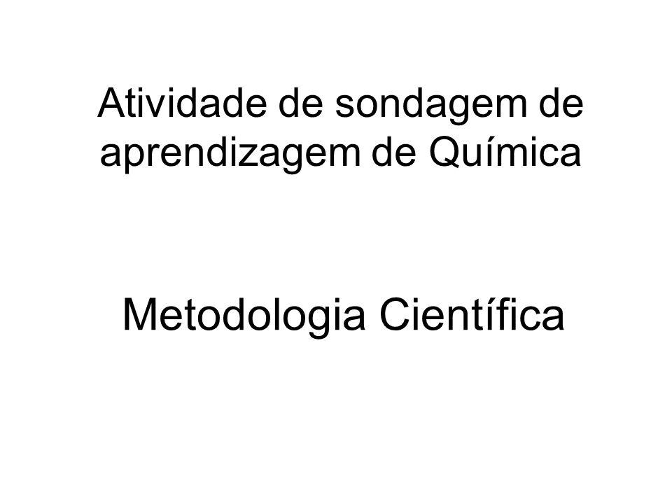 Atividade de sondagem de aprendizagem de Química