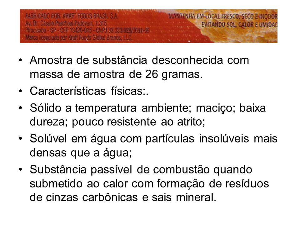 Amostra de substância desconhecida com massa de amostra de 26 gramas.