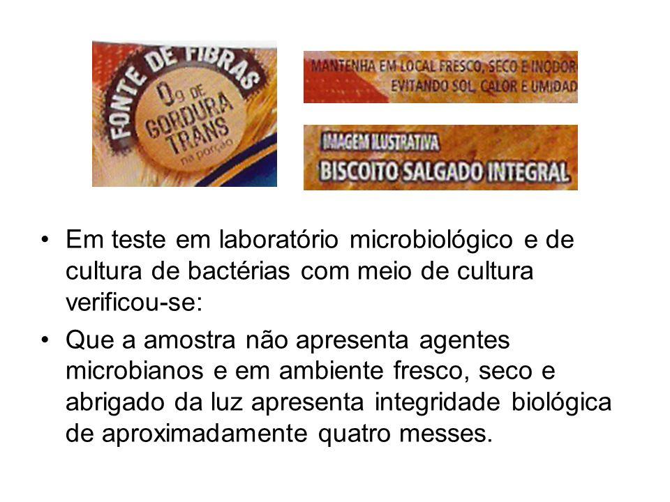 Em teste em laboratório microbiológico e de cultura de bactérias com meio de cultura verificou-se: