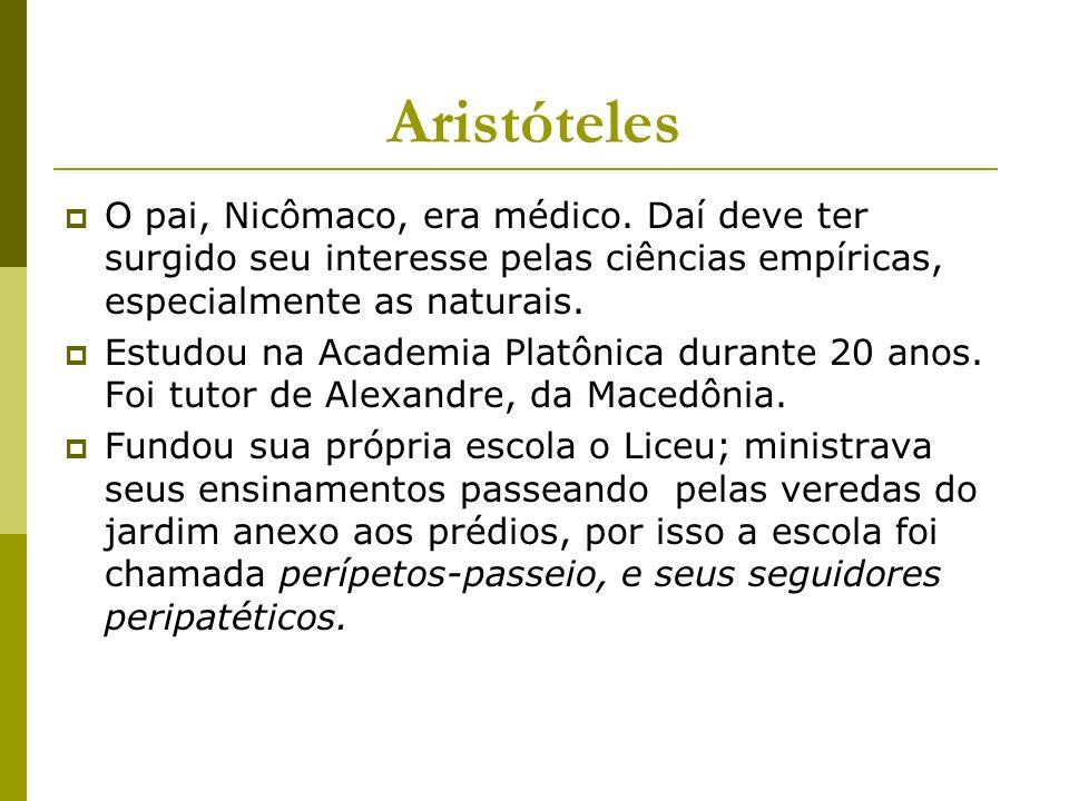 Aristóteles O pai, Nicômaco, era médico. Daí deve ter surgido seu interesse pelas ciências empíricas, especialmente as naturais.