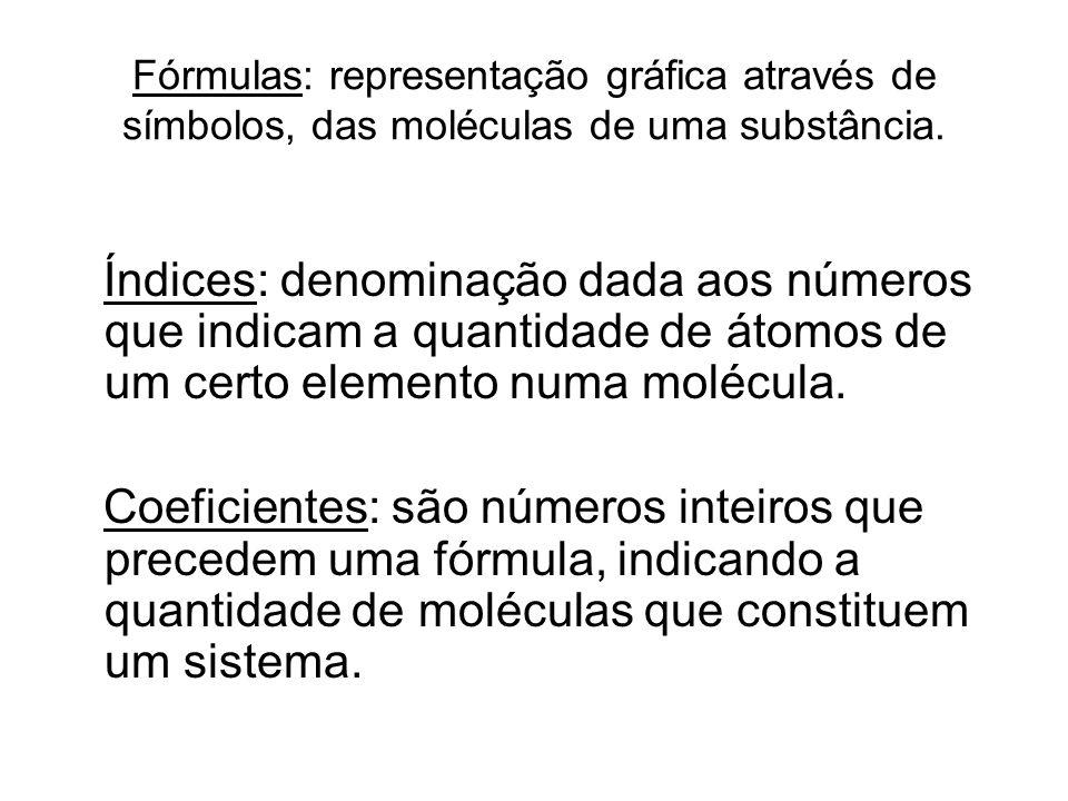 Fórmulas: representação gráfica através de símbolos, das moléculas de uma substância.