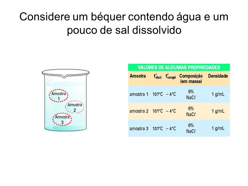 Considere um béquer contendo água e um pouco de sal dissolvido