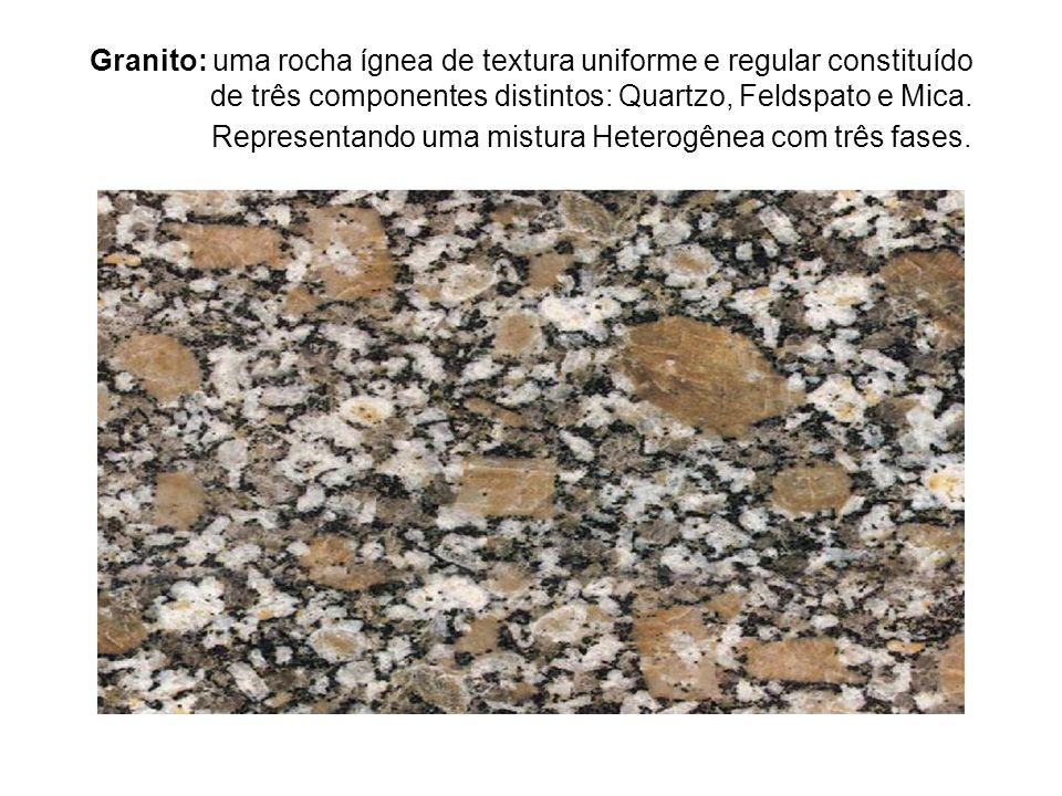 Granito: uma rocha ígnea de textura uniforme e regular constituído de três componentes distintos: Quartzo, Feldspato e Mica.