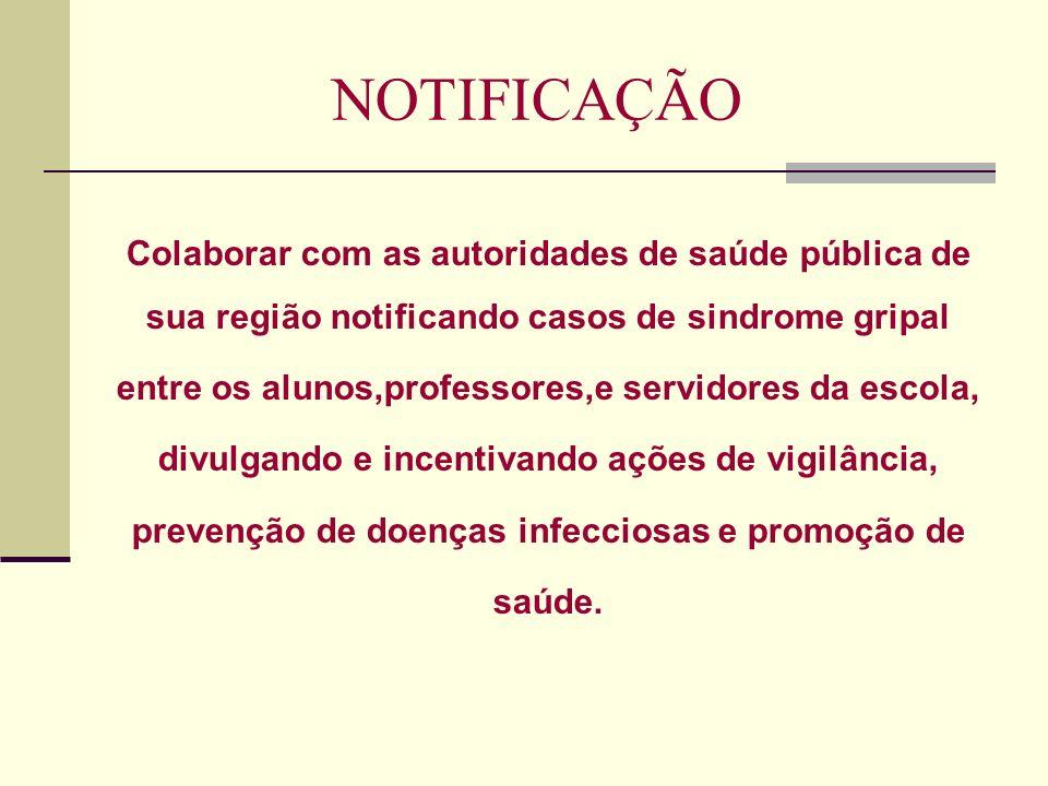 NOTIFICAÇÃO Colaborar com as autoridades de saúde pública de
