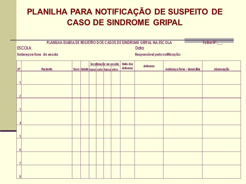 PLANILHA PARA NOTIFICAÇÃO DE SUSPEITO DE CASO DE SINDROME GRIPAL