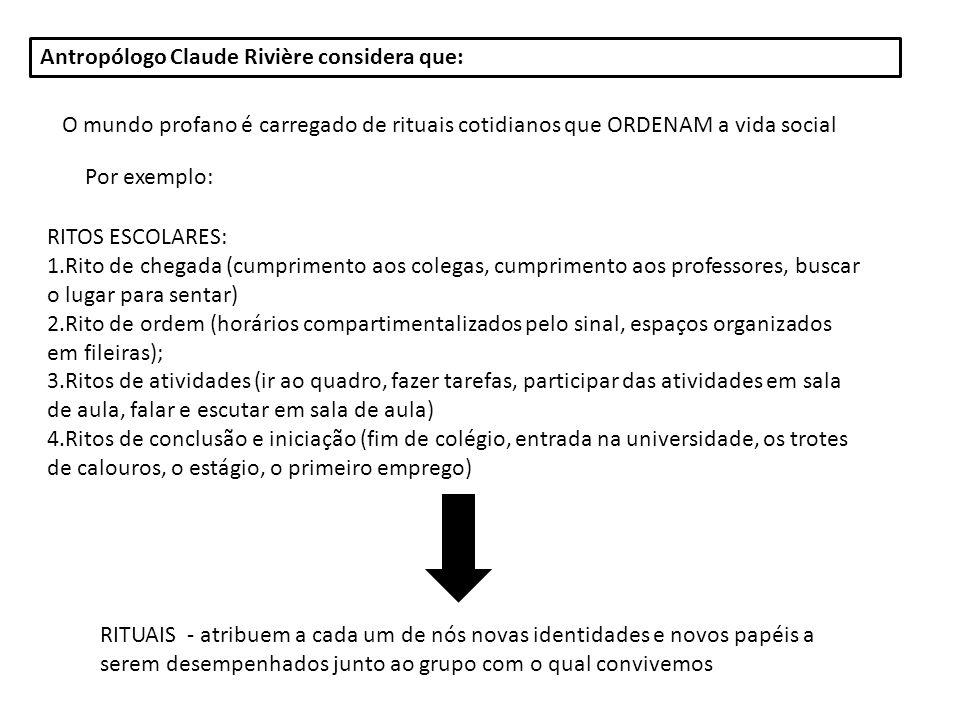 Antropólogo Claude Rivière considera que: