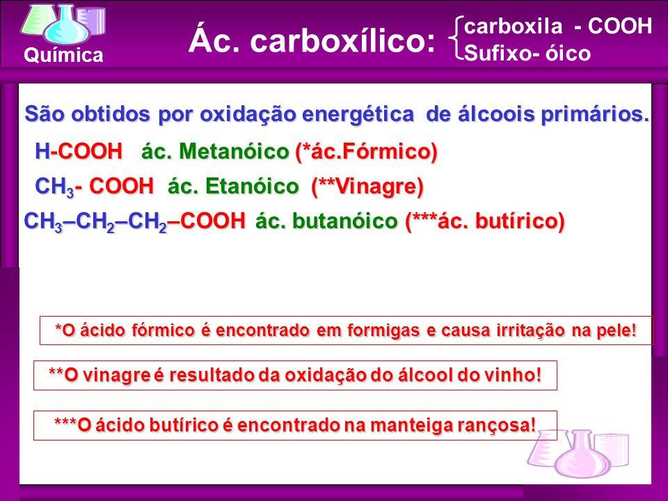 Ác. carboxílico: carboxila - COOH Sufixo- óico