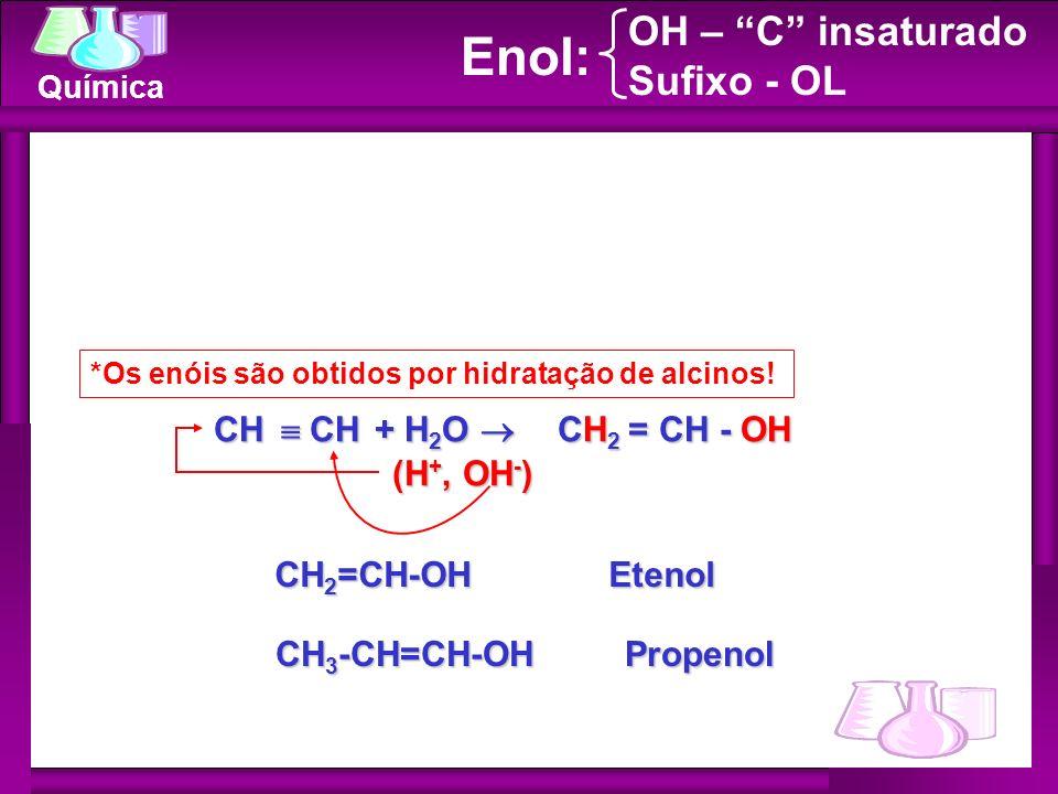 Enol: OH – C insaturado Sufixo - OL CH  CH + H2O  CH2 = CH - OH