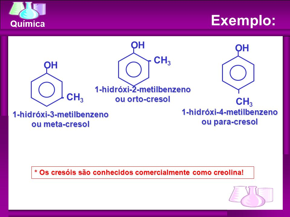 Exemplo: OH OH - CH3 OH - CH3 CH3 1-hidróxi-2-metilbenzeno