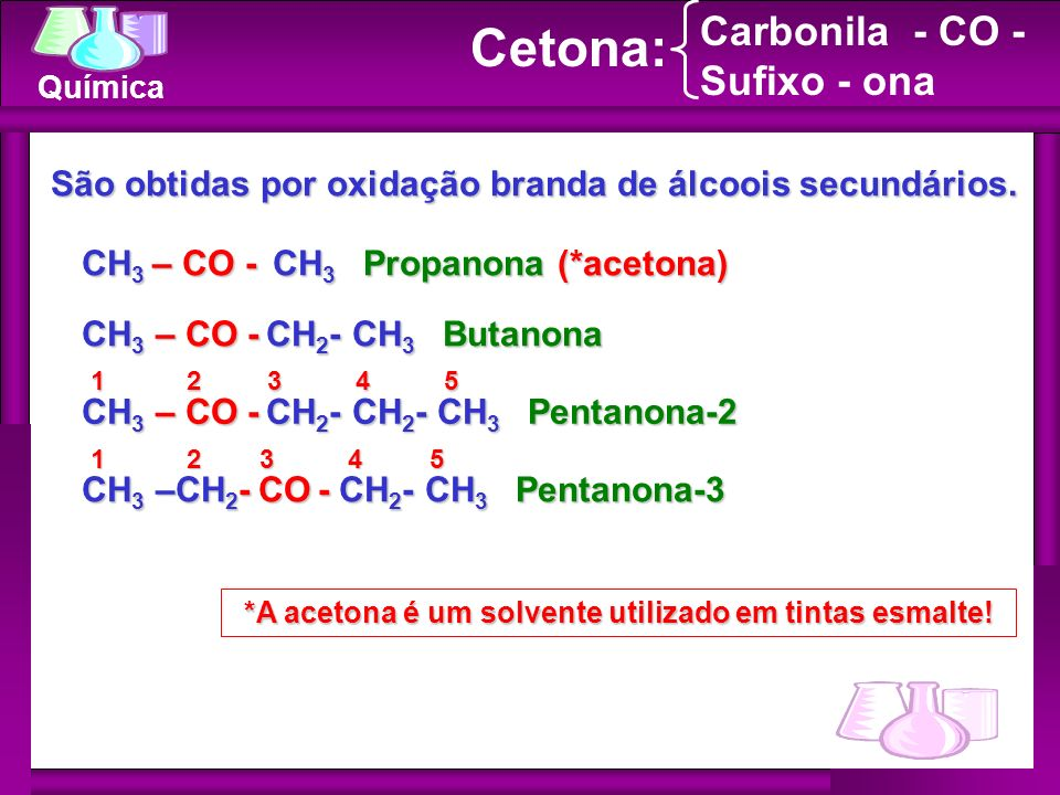 Cetona: Carbonila - CO - Sufixo - ona