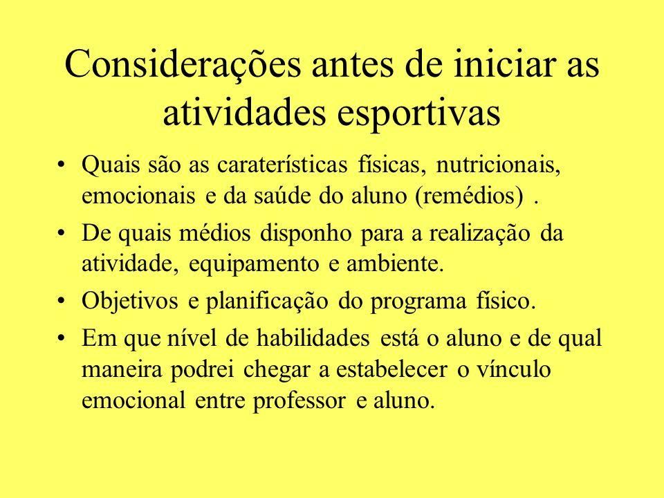 Considerações antes de iniciar as atividades esportivas