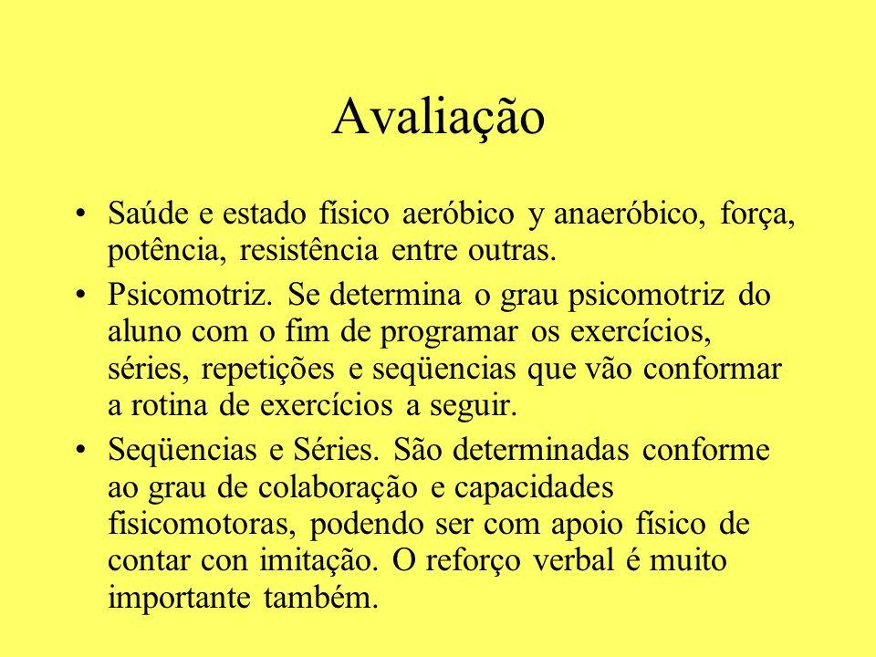 AvaliaçãoSaúde e estado físico aeróbico y anaeróbico, força, potência, resistência entre outras.