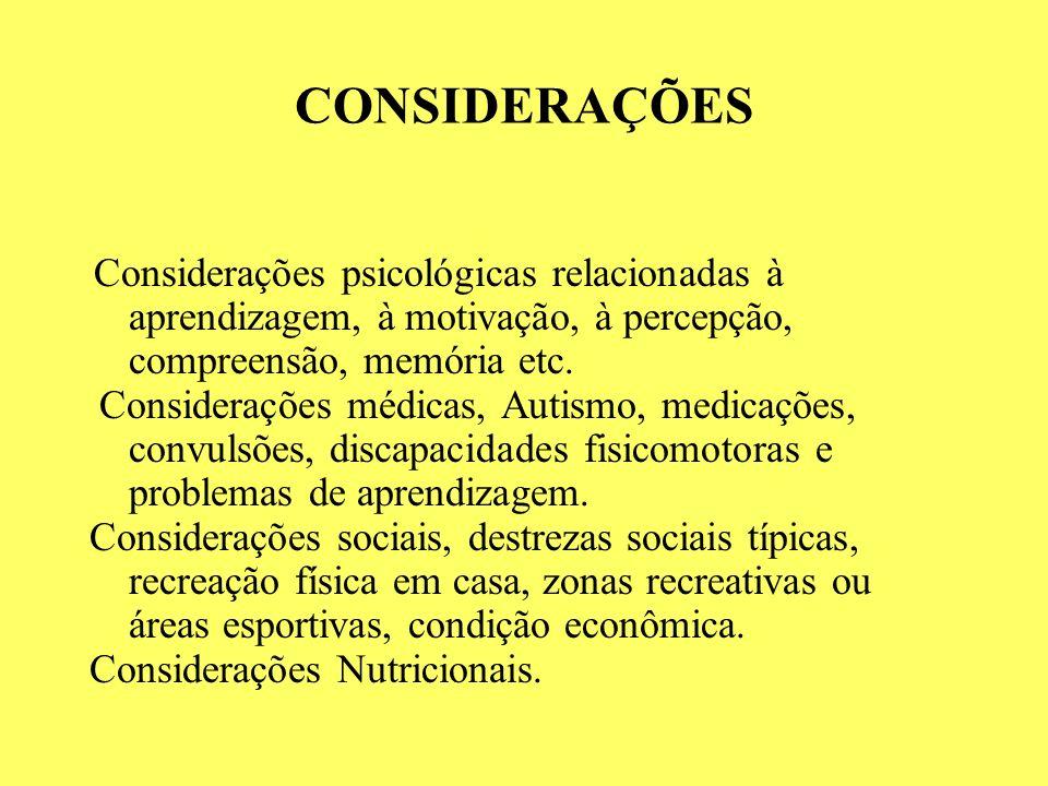 CONSIDERAÇÕES Considerações psicológicas relacionadas à aprendizagem, à motivação, à percepção, compreensão, memória etc.