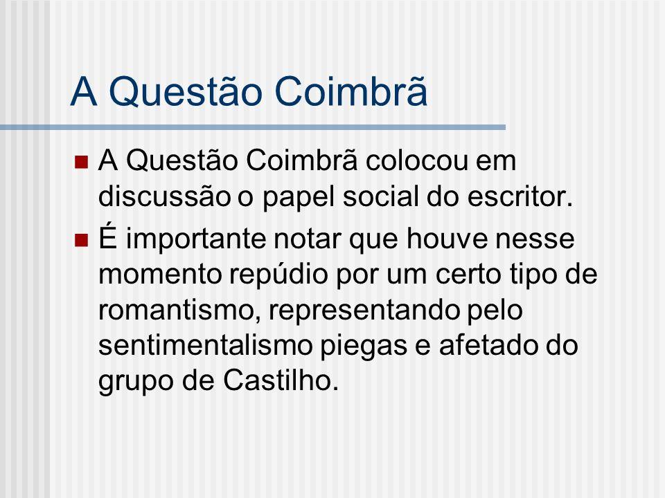 A Questão Coimbrã A Questão Coimbrã colocou em discussão o papel social do escritor.