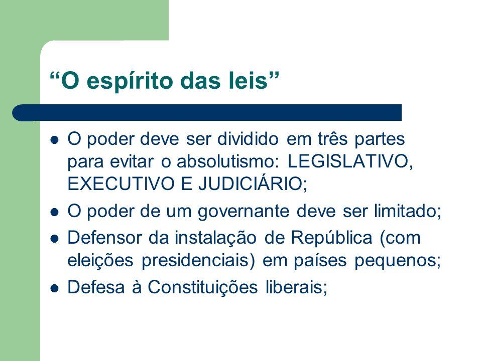 O espírito das leis O poder deve ser dividido em três partes para evitar o absolutismo: LEGISLATIVO, EXECUTIVO E JUDICIÁRIO;