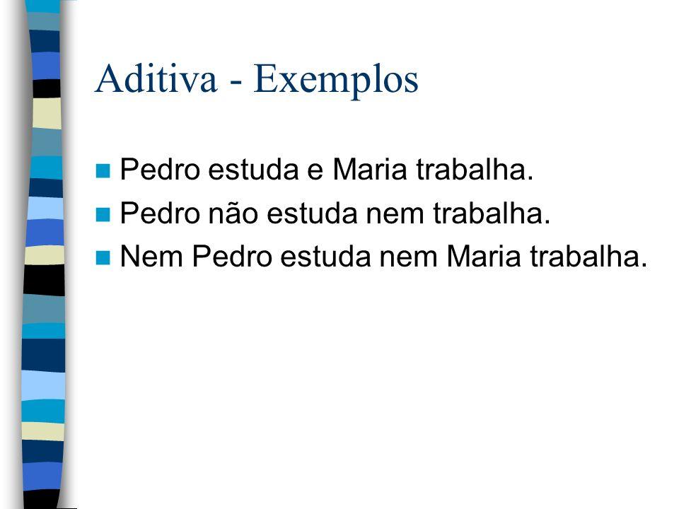 Aditiva - Exemplos Pedro estuda e Maria trabalha.