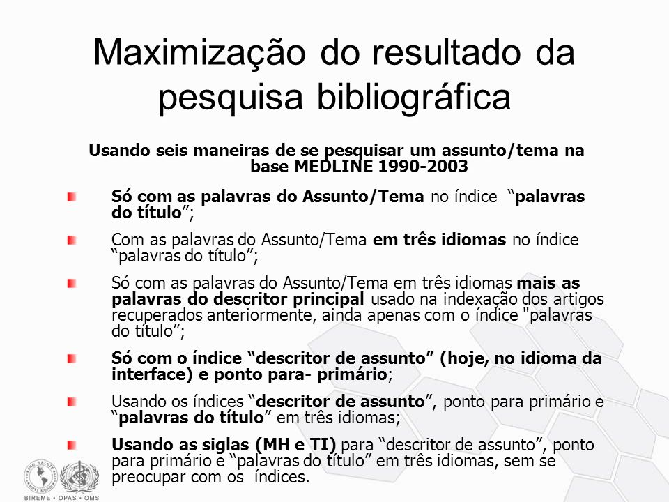 Maximização do resultado da pesquisa bibliográfica