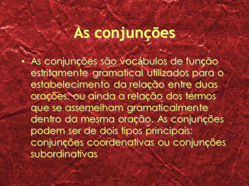 As conjunções