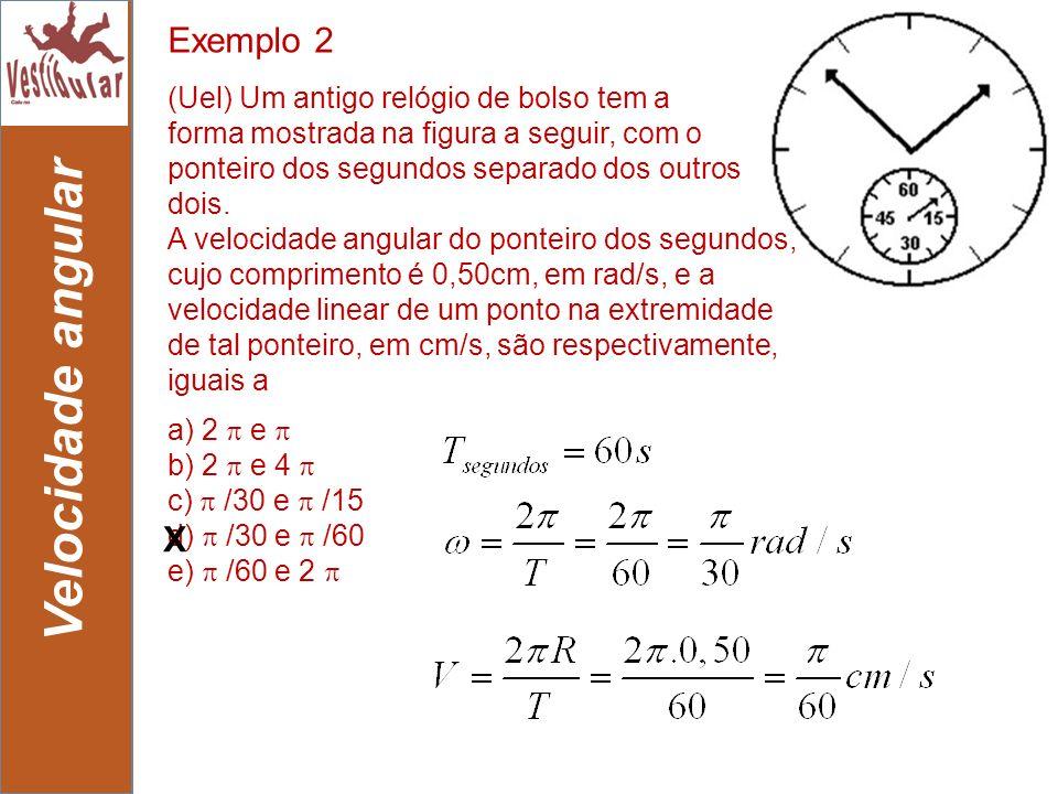 Velocidade angular Exemplo 2 X