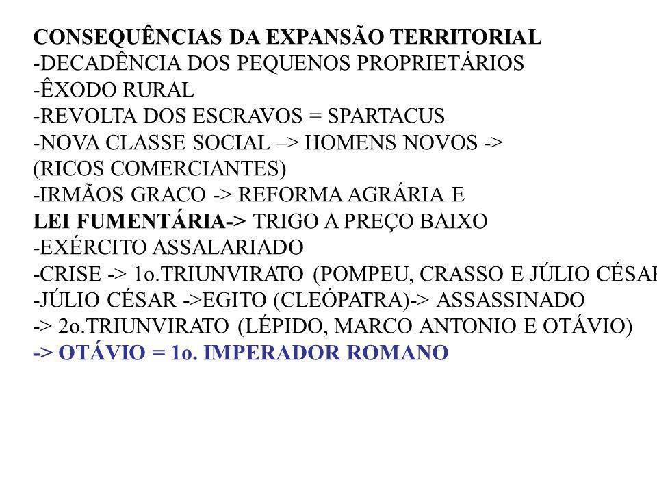 CONSEQUÊNCIAS DA EXPANSÃO TERRITORIAL