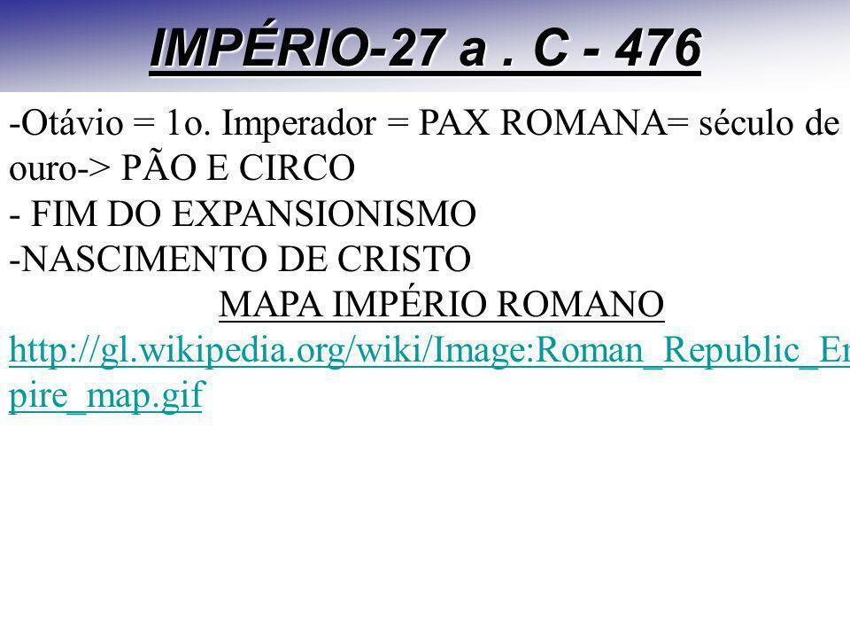 IMPÉRIO-27 a . C - 476 -Otávio = 1o. Imperador = PAX ROMANA= século de ouro-> PÃO E CIRCO. - FIM DO EXPANSIONISMO.
