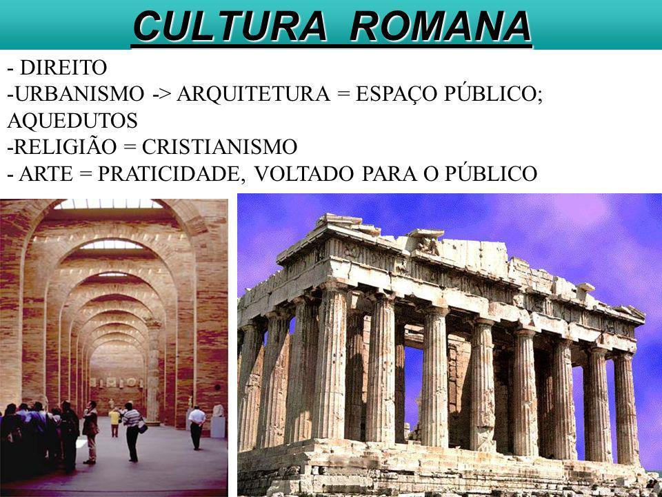 CULTURA ROMANA - DIREITO URBANISMO -> ARQUITETURA = ESPAÇO PÚBLICO;