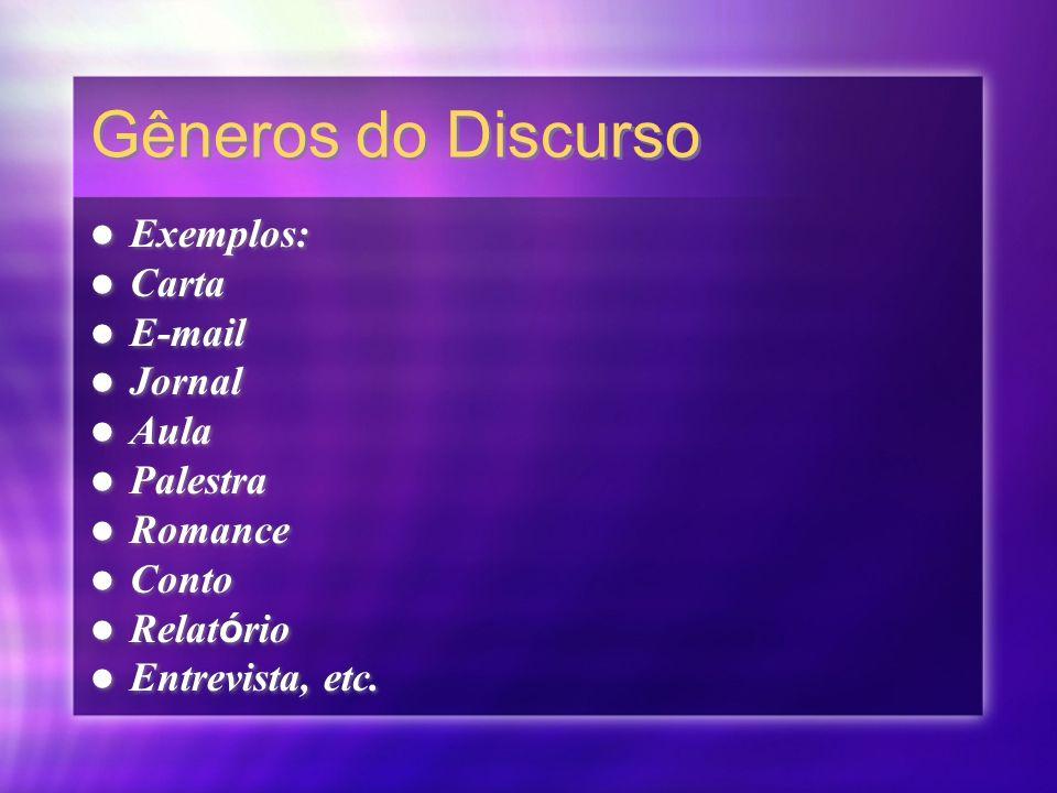 Gêneros do Discurso Exemplos: Carta E-mail Jornal Aula Palestra