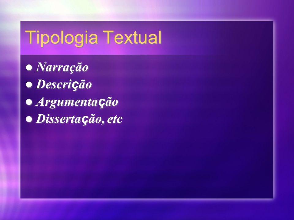 Tipologia Textual Narração Descrição Argumentação Dissertação, etc