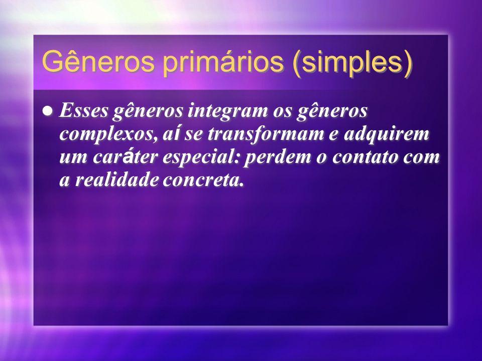 Gêneros primários (simples)