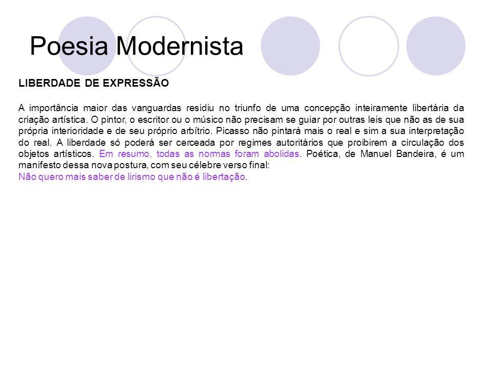 Poesia Modernista LIBERDADE DE EXPRESSÃO