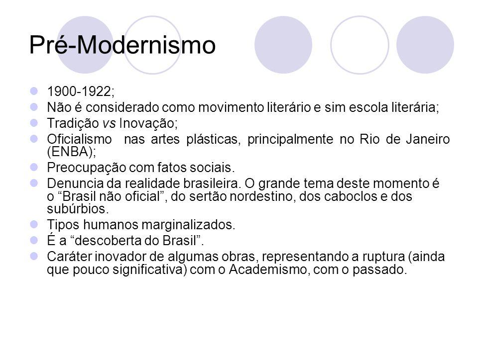 Pré-Modernismo 1900-1922; Não é considerado como movimento literário e sim escola literária; Tradição vs Inovação;