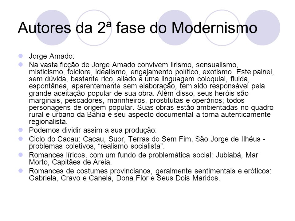 Autores da 2ª fase do Modernismo
