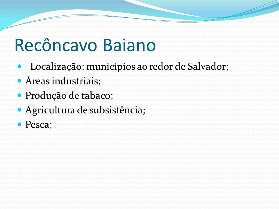 Recôncavo Baiano Localização: municípios ao redor de Salvador;