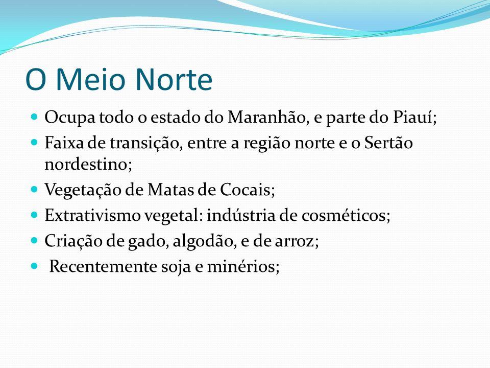 O Meio Norte Ocupa todo o estado do Maranhão, e parte do Piauí;