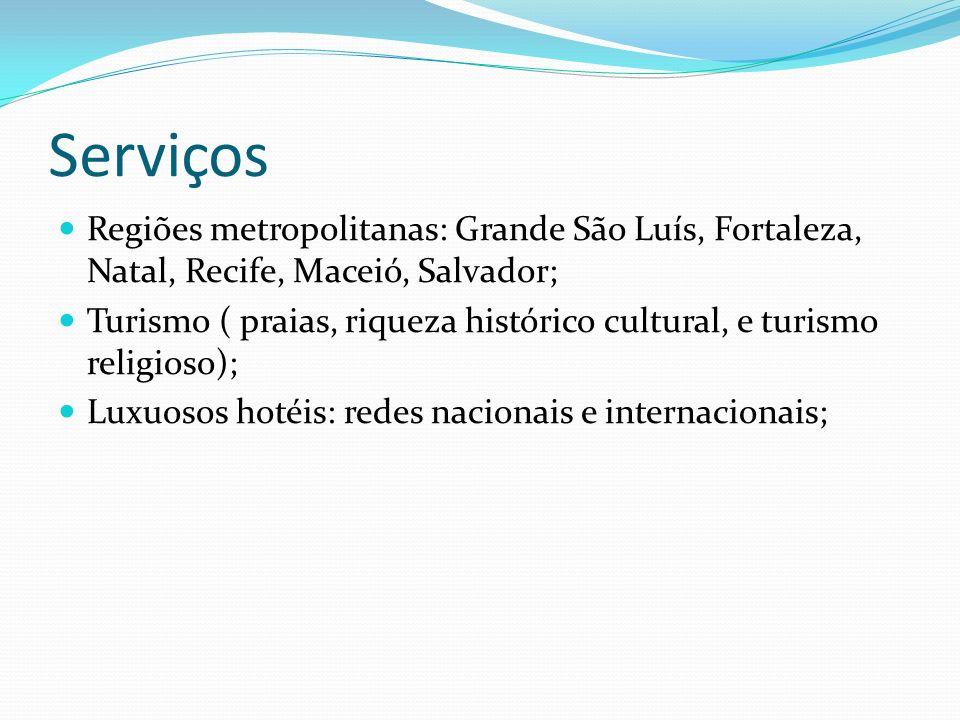 Serviços Regiões metropolitanas: Grande São Luís, Fortaleza, Natal, Recife, Maceió, Salvador;