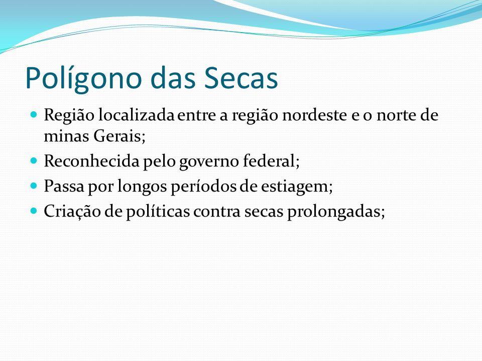 Polígono das Secas Região localizada entre a região nordeste e o norte de minas Gerais; Reconhecida pelo governo federal;