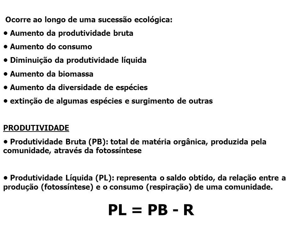 PL = PB - R Ocorre ao longo de uma sucessão ecológica:
