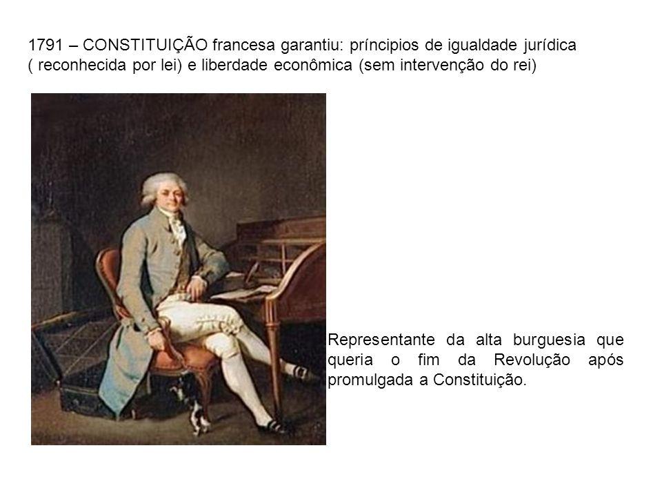 1791 – CONSTITUIÇÃO francesa garantiu: príncipios de igualdade jurídica